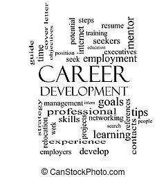 carrera, desarrollo, palabra, nube, concepto, en, negro y...