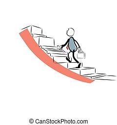 carrera, hombre de negocios, escalera, arriba, va