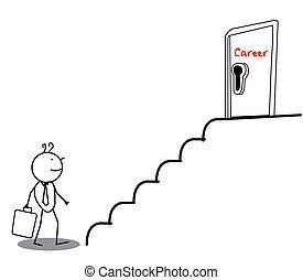 carrera, hombre de negocios, puerta