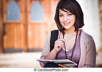 carrera mezclada, estudiante universitario
