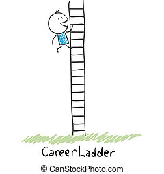 carrera, montañismo, hombre, illustration., ladder.