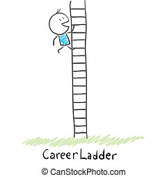 carrera, montañismo, hombre, illustration., ladder.