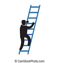 carrera, persona, escalera, icono, montañismo