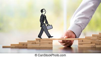 carrera, planificación, concept., hombre de negocios, obteniendo, ayuda, puentes de edificio, a, success.
