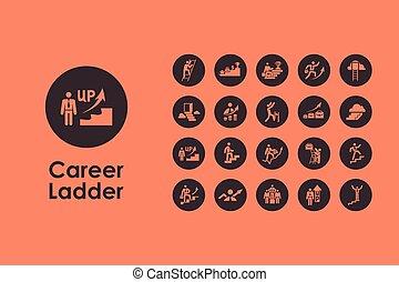 carrera, simple, escalera, conjunto, iconos