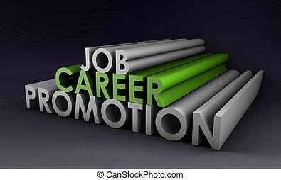 carrera, trabajo, promoción