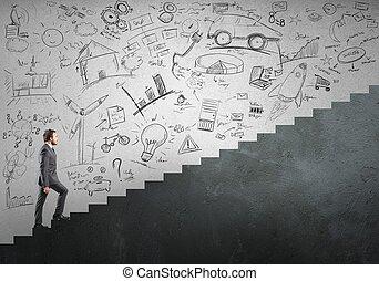 carrera, y, ambición, de, un, hombre de negocios