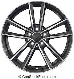 carreras, aluminio, rueda, recorte