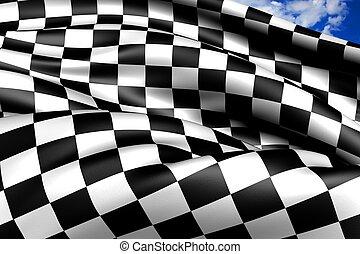carreras, automóvil, bandera chequered