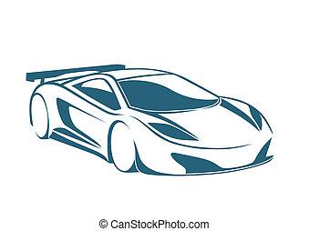 carreras, automóvil, logotipo, y, velocidad