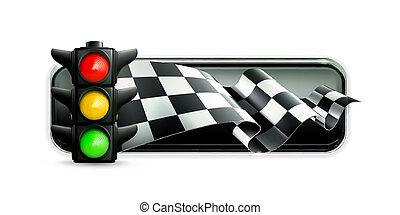 carreras, bandera, con, semáforos
