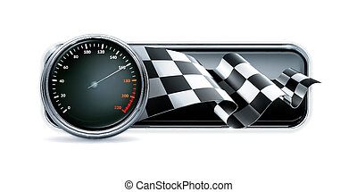 carreras, bandera, velocímetro