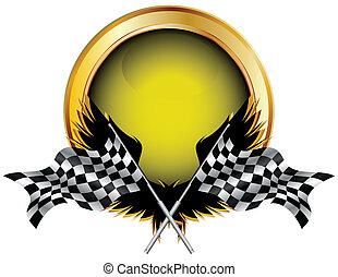 carreras, botón, banderas, dorado