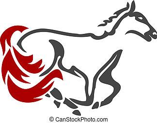 carreras, caballo, icono, 2