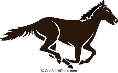 carreras, caballo, icono