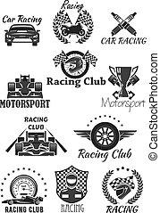 carreras, club, y, motorsport, aislado, símbolo, conjunto