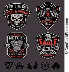 carreras, conjunto, emblema, motor