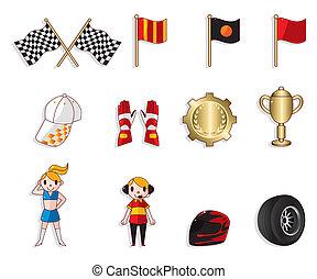 carreras de automóvil, f1, conjunto, icono, caricatura