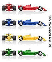 carreras de automóvil, ilustración, eps, vector