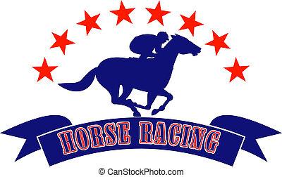 carreras, jinete, caballo, silueta