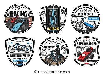 carreras, pista de carreras, coches, iconos, motocross, deporte, carreras