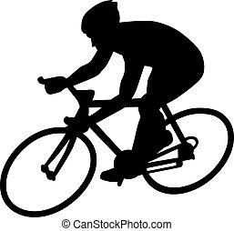 carreras, silueta, ciclo