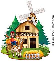 carreta, equitação cavalo, agricultor