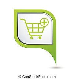 carreta, ponteiro, ícone, shopping
