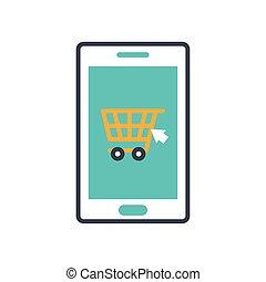 carreta, shopping, ícone, smartphone