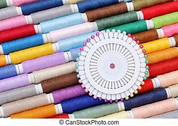 carrete, de, hilos, y, agujade coser
