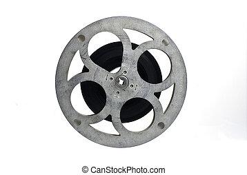 carrete, en parte, película, aislado, filled;, blanco,...