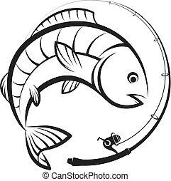 carrete, pez, barra, pesca