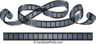 carrete, torcido, película, aislado