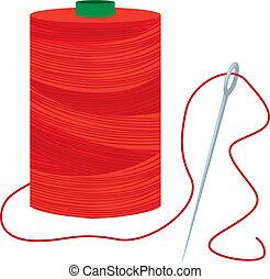 carretel, agulha, linha vermelha