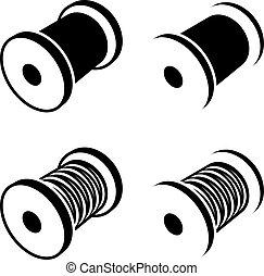 carretel, símbolo, cosendo, pretas, fio