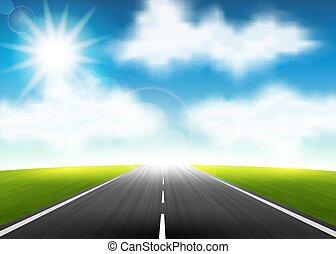 carretera, a, el, horizonte