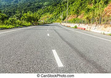 carretera, a, el, montaña