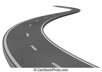 carretera, a, un, destino