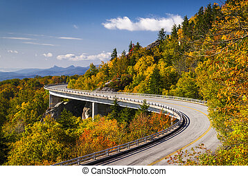 carretera ajardinada de cumbre azul, viaduct de la ensenada del linn, carolina del norte, appalachian, paisaje, escénico, viaje, fotografía, en, otoño