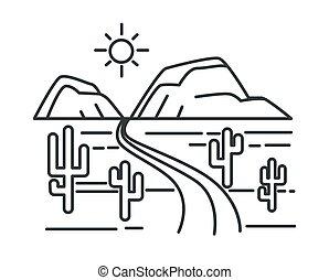 carretera, camino, colinas, bosquejo, paisaje del desierto, ...