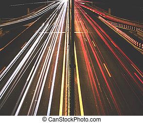 carretera, luz arrastra