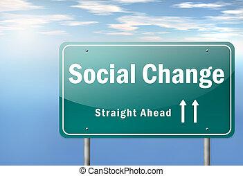 carretera, poste indicador, social, cambio