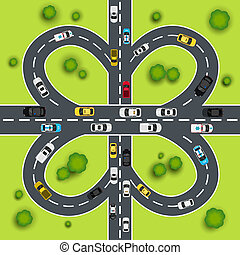 carretera, tráfico, ilustración