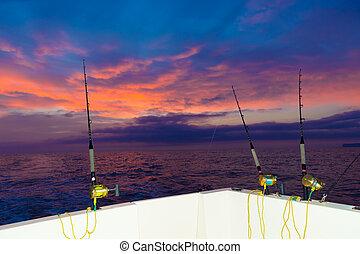 carretes, ocaso, cañasde pescar, revolviendo, barco
