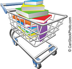 carretilla de las compras, carrito, lleno, de, libros,...