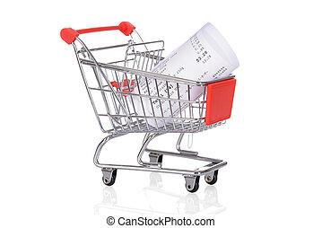carretilla de las compras, con, arrollado, recibos