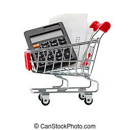 carretilla de las compras, con, recibos, y, calculadora, encima, fondo blanco