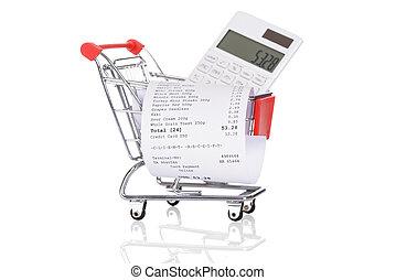 carretilla de las compras, con, recibos, y, calculadora