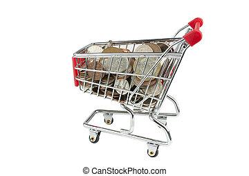 carretilla de las compras, lleno, de, dinero