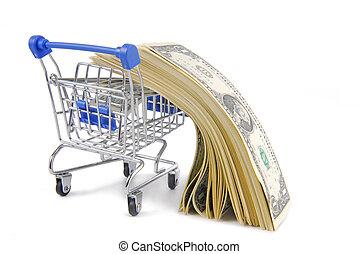 carretilla de las compras, y, dinero